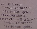Restaurantrechnung mit Allergenangaben