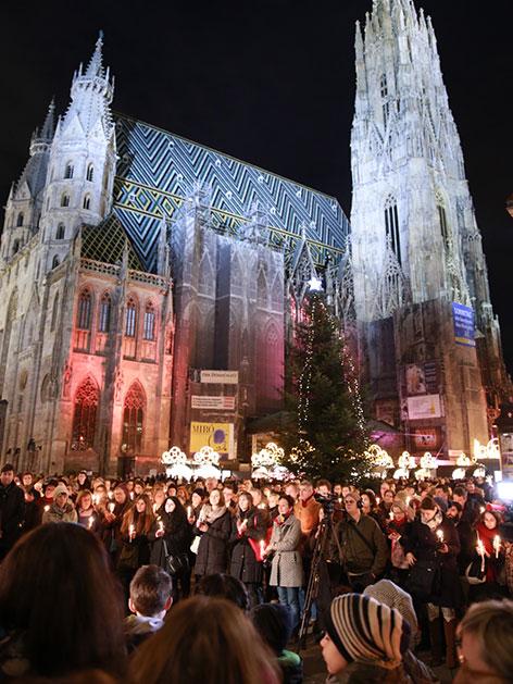 Kundgebung der Caritas auf dem Stephansplatz