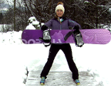 Doresia Krings mit Snowboard