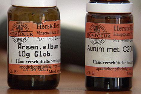 Homöopathische Mittel in Fläschchen