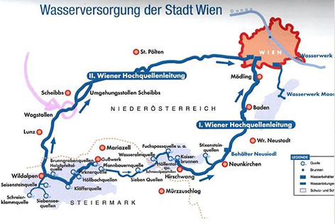 Grafik zum Verlauf der Hochquellenwasserleitung