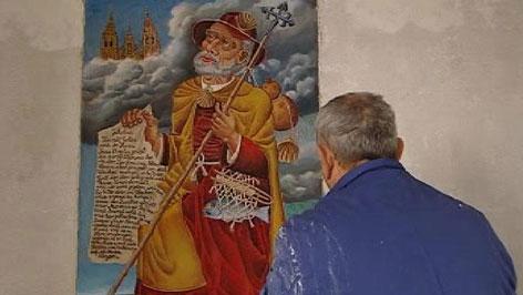 Milan Generalić pri djelu na fresku Sv. Jakova