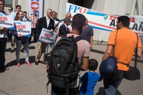 Foto von FPÖ-Protest gegen Flüchtlingsquartier in Wien-Erdberg