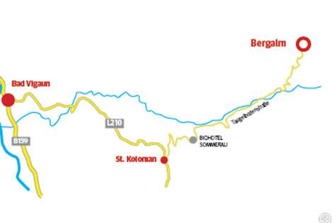 Anfahrtsplan zur Bergalm