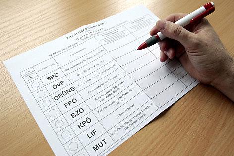 Stimmzettel für die Wiener Gemeinderatswahl 2010