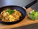 Eierschwammerlgröstl mit grünem Salat
