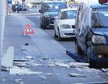 abgestürzte Fassadenplatte auf der Prinz-Eugen-Straße