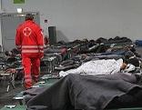 Flüchtlinge in der Grazer Messehalle