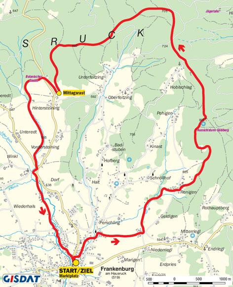 Wanderrouten und Höhenprofile der heurigen Wanderungen: Frankenburg