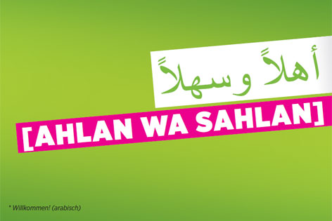 Grüner Wahlslogan auf Arabisch