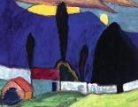 Gabriele Münter, Landschaft mit weißer Mauer, 1910
