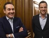 (v.l.) FPÖ-Chef Heinz-Christian Strache und FPÖ-Klubchef Johann Gudenus am Donnerstag, 15. Oktober 2015, nach einem Parteiengespräch mit der SPÖ im Wiener Rathaus