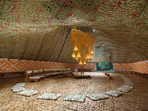 Ernesto Neto NixiForestKupiXawa, 2015 Cotton, straw, paint, and wood