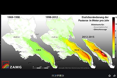 ZAMG Gletscherschmelze Pasterze verschwindet