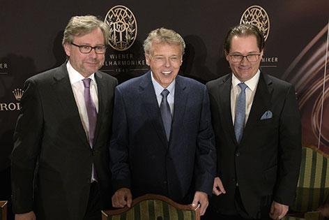 ORF-GD Alexander Wrabetz, Dirigent Mariss Jansons, Philharmoniker-Vorstand Andreas Großbauer