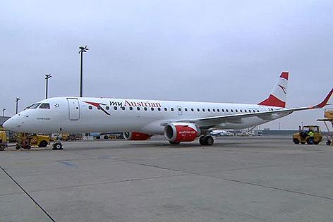Embraer-Jet der AUA in Wien-Schwechat
