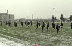 Sturm Spieler Training Schneefall Messendorf