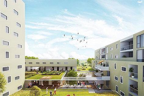 Modell des neuen Gemeindebaus in Favoriten