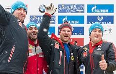 Benjamin Maier (ganz rechts) jubelt mit der Silber-Besatzung von St. Moritz
