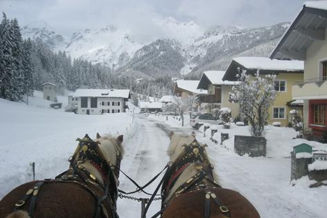 Pferdeschlittenfahrt mit Blick auf das Tennengebirge