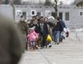Geflüchtete Menschen an der österreichisch-slowenische Grenze in Spielfeld