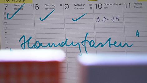 Eintrag von Handyfasten im Kalender