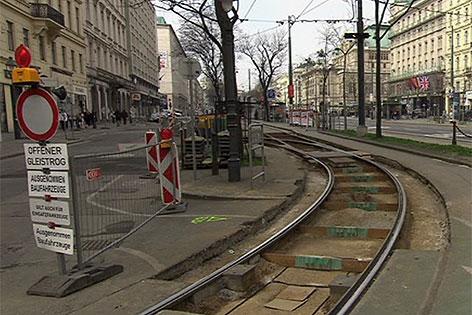 Gleisbauarbeiten auf der Ringstraße