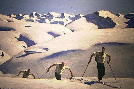 """""""Aufstieg der Skifahrer"""" des Tiroler Malers Alfons Walde"""