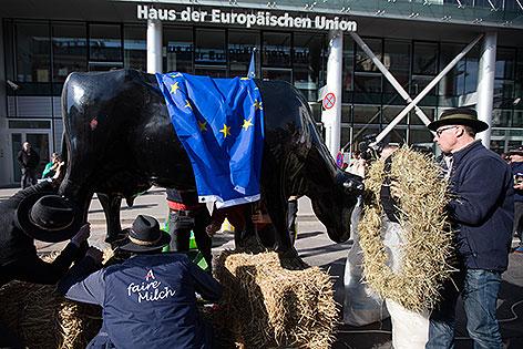 Demonstration von Milchbauern in der Wiener Innenstadt
