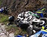 Zertrümmertes Motorrad