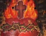 Herz Jesu Darstellung auf Holz