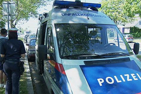 Polizeiauto am Unfallort