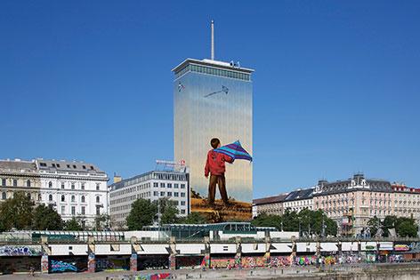 Visualisierung der Ringturm-Verhüllung von Ivan Exner