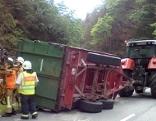 Kühe von umgestürztem Traktoranhänger auf Straße gestürzt