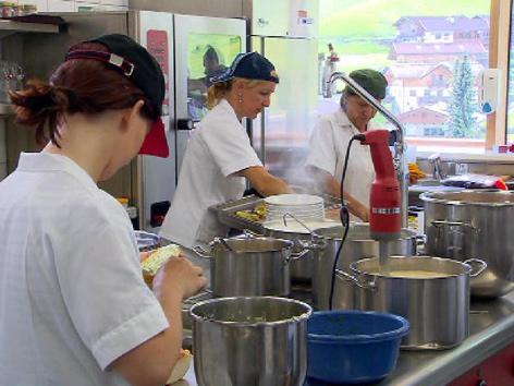 Arbeit in Großküche