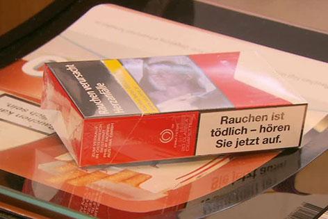 Zigarettenpackung mit Schockbild