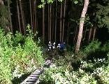 Auto Böschung Baum Rettung