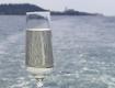 SSC Oceanus Glas vor Meereshintergrund