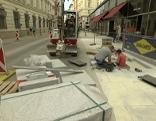 Bauarbeiten für die Begegnungszone in der Herrengasse