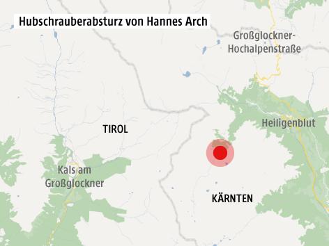 Karte zur Abssturzstelle von Hannes Arch