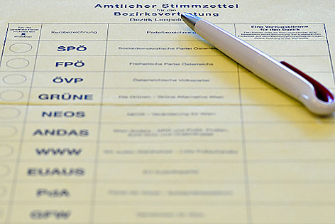 Stimmzettel für Bezirksvertretungswahl Leopoldstadt
