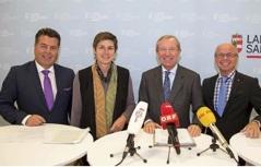 Regierungsmitglieder bei der Budget-Pressekonferenz
