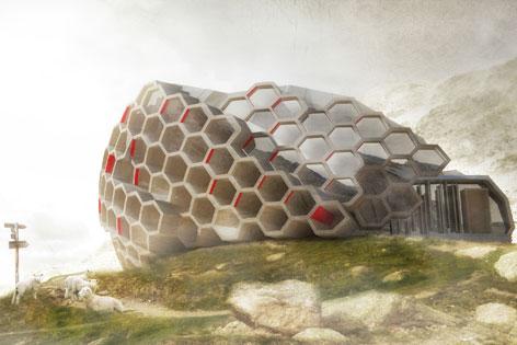futuristische Hütte in Form einer Bienenwabe