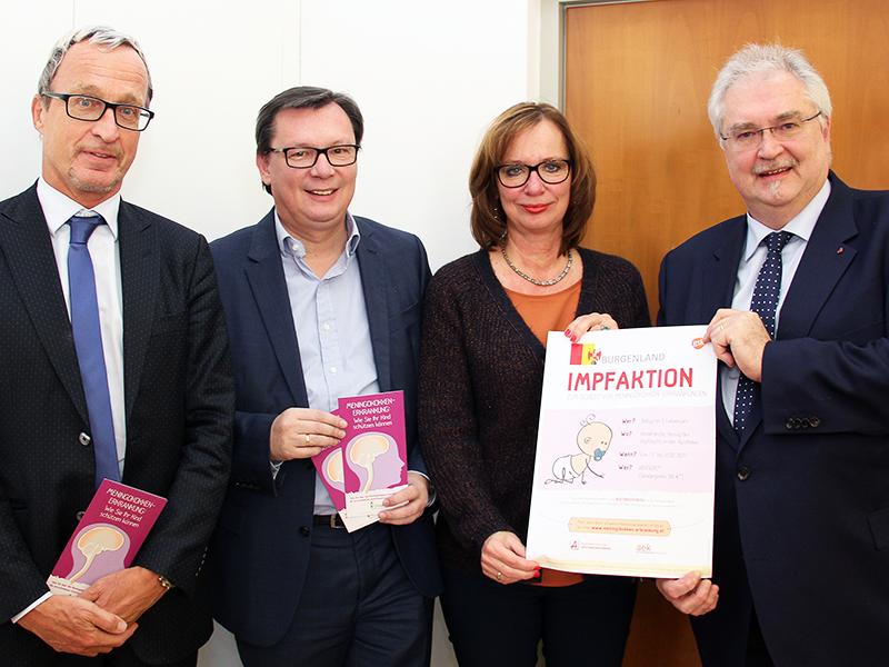 Kinderarzt Albrecht Prieler, Landesrat Norbert Darabos, Landessanitätsdirektorin Claudia Krischka und Apothekerkammerpräsident Dieter Schmid