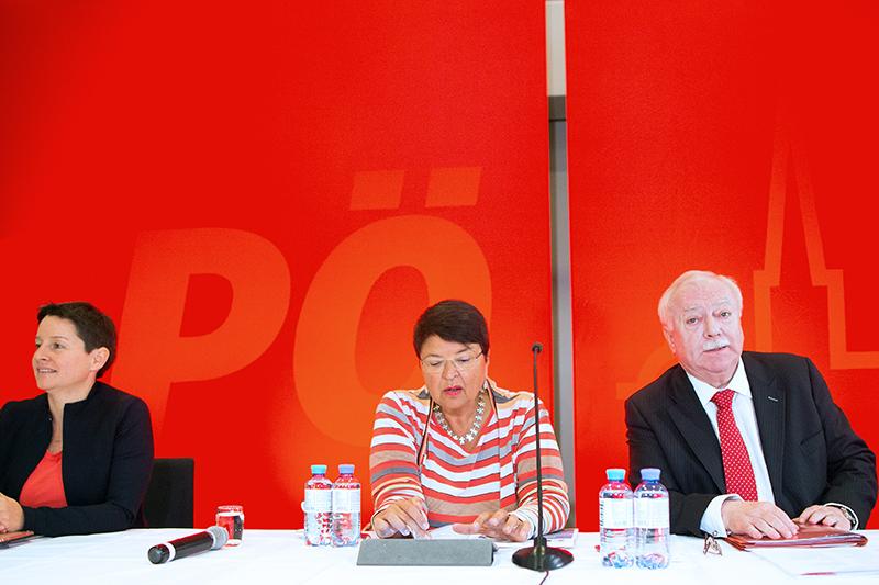 Wehsely, Brauner und Häupl vor Beginn der Vorstandstagung