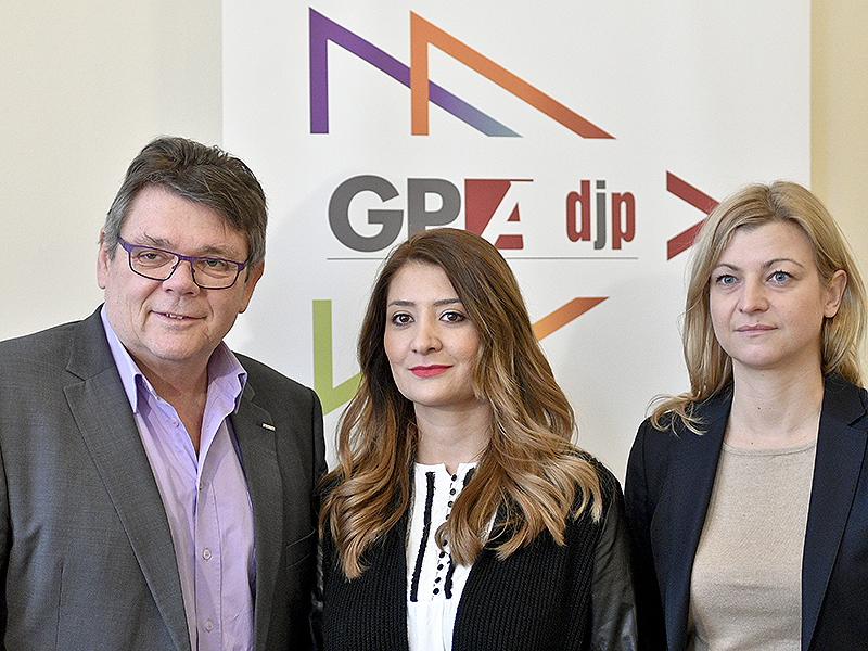 GPA-djp-Vorsitzender Wolfgang Katzian (L), Özlem Bakiray (M) und Barbara Teiber (GPA-djp Wien)
