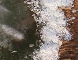 Eisstoß, Eisschollen, Neusiedler See, Winter, Eis