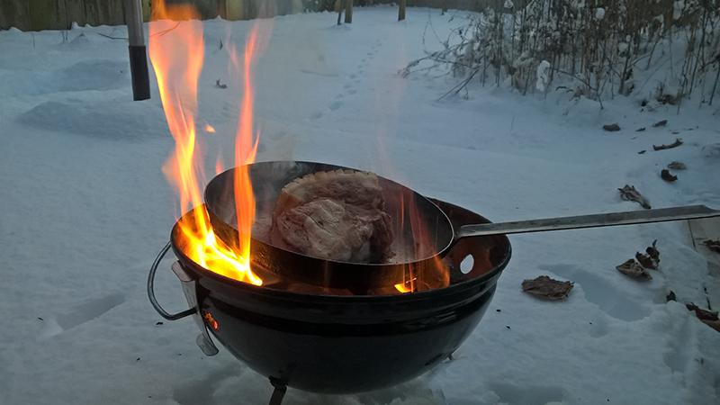 Wintergrillen Grill Feuer