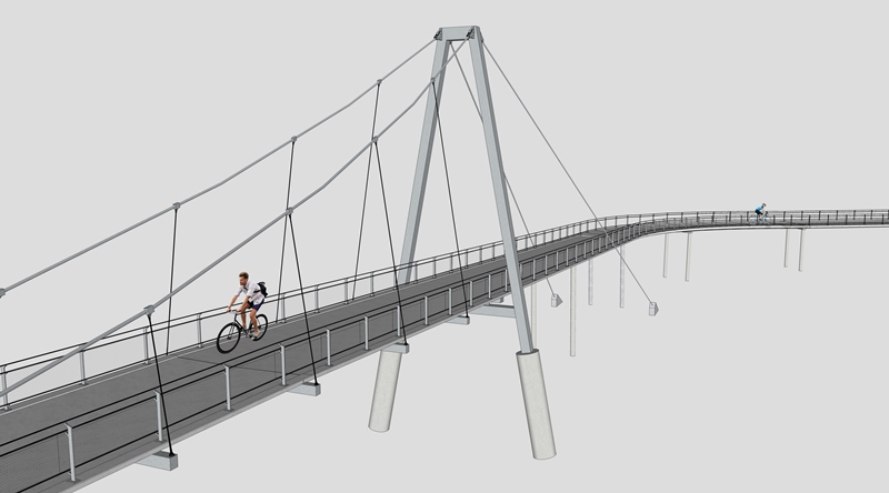 Geplante Radbrücke über die March