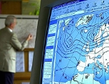 Bildschirm mit Wetterkarte